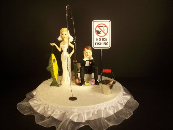 ICE FISHING Funny Wedding Cake Topper Bride And Groom Fish On