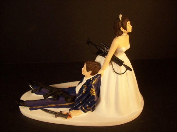 Military Wedding Cake Topper With Gun Rifle Weapon Knife