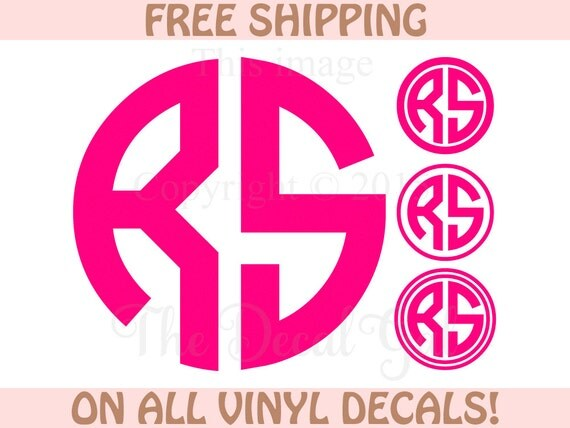 Circle Monogram Decal 2 Initials FREE SHIPPING 1 By