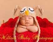 Baby Owl Hat - Baby Boy Hat - Baby Girl Hat - Sleepy Baby Owl Hat - Super Soft Mohair Blend Yarn Earflaps & Ties