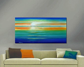 ORIGINAL PAINTING Abstract Seascape Large 24X48 Gallery Wrap Canvas Impasto Art  By Tom Gress