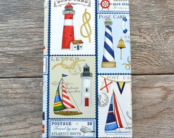 Nautical Postcards Wrapping Paper, 20 Square Feet - Light house Wrapping Paper - Sailboat Gift Wrap - Red and Blue - Maritime Gift Wrap