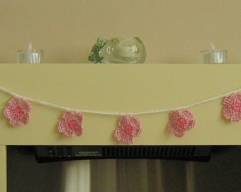 Pink Crocheted Flower Bunting