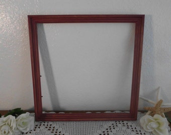 Cranberry Red Wine Frame Rustic Shabby Chic Distressed 14 x 14  Large Square Country Farmhouse Barn Home Decor Wedding Decoration Gift Him