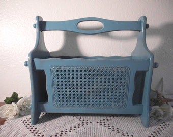Blue Magazine Rack Rustic Aqua Turquoise Teal Shabby Chic Up Cycled Vintage Wicker Wood Organizer Beach Cottage Tropical Island Home Decor