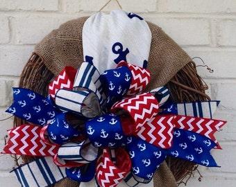 Patriotic Burlap Anchor Fabric Grapevine Wreath