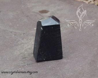 Black Tourmaline Gemstone Crystal Point 30mm x 24mm x 39mm (BTOUP0020)