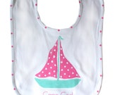 Turquoise & Pink Sailboat Bib..may be personalized
