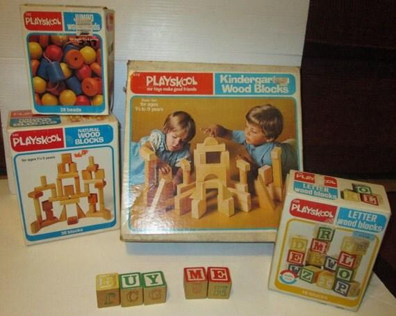 Large Lot Vintage Playskool Wooden Kindergarten Blocks