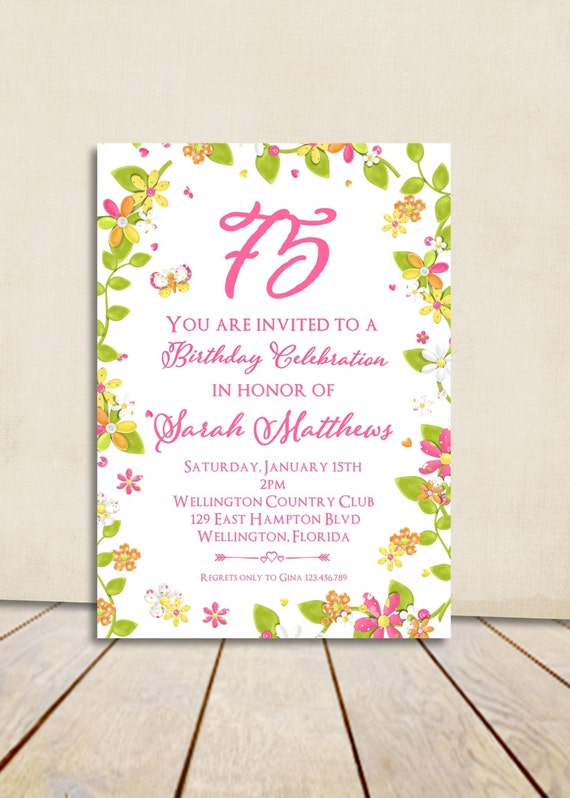Spring Flowers 80th Birthday Invitation ANY Age Vintage Floral Printable Invite