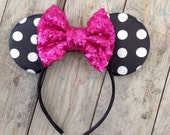 Black and White Minnie Headband and Hot Pink Sparkle Bow Baby's First Birthday Photography Prop Baby Girl 1st Birthday Headband Sequin Bows
