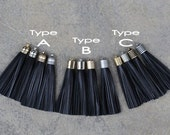 2 Black Leather TASSELs in 10mm Cap -4 colors Plated Cap- Pick cap type and cap color
