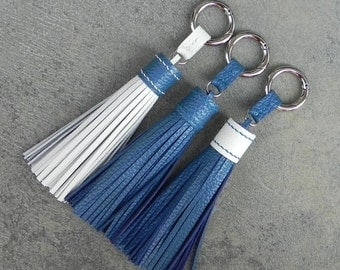 LARGE Type-Cerulean Blue & Ivory Unique and Chic Hand Stitched Cowhide Leather TASSEL Key Chain or Bag Charm