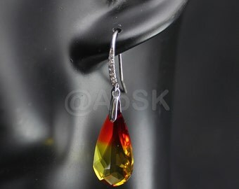 Sterling Silver with Ziconia on Swarovski Teardrop Crystal Earring Fireopal BE4