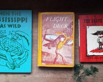 Vintage (3) Colorful Hardback Mid Century Modern Boy's Books