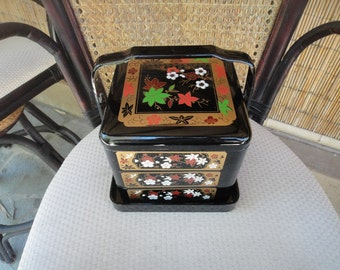 Vintage Asian Bento Box Lacquer Ware Black Gold White Green and Orange
