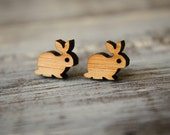 Bunny Studs, Laser Cut Wood Earrings