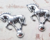 TWO Brass Circus Horses on Ball, Sterling Silver Finish - Jewelry Making Supplies by CalliopesAttic