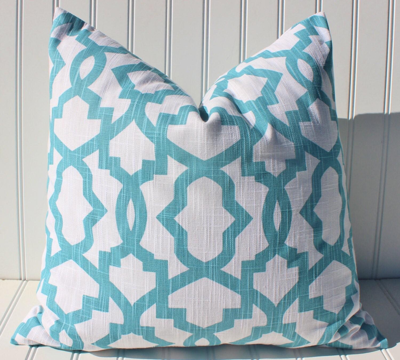 Blue Trellis Pillow Throw Pillow Decorative Pillow Blue