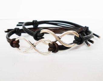 infinity leather bracelet, infinity cuff bracelet, adjustable friendship cuff, stacking bracelet, festival bracelets, gift for him her