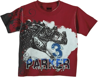 Personalized Dinosaur Shirt,, Boys Dinosaur Birthday Shirt, Dino T-Shirt, Boys T-Rex Top, Red and Blue