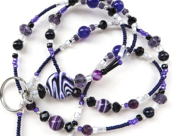 VALLEY VISTA- Beaded ID Lanyard- Russian Amethyst, Turkey Turquoise, Purple Agate, and Crystals (Magnetic Clasp or Comfort Created)
