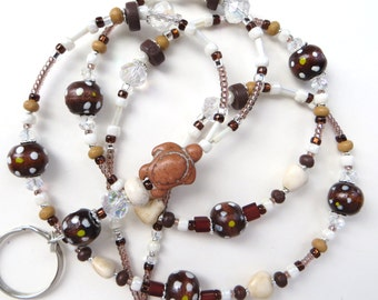 NATURAL BEAUTY TURTLE- Beaded Id Lanyard- Howlite Turquoise Turtle and Heart Beads, Wood Beads, & Sparkling Crystals (Magnetic Clasp)