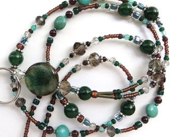 AGATE ELEGANCE- Beaded ID Lanyard- Agate Pendant and Gemstone Beads, Magnesite and Jade Gemstones (Magnetic Clasp)