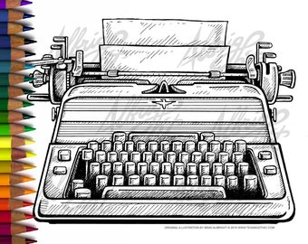 INSTANT DOWNLOAD Adult Coloring Page - The Shining Typewriter - Moody Doodle