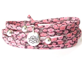 Lotus bracelet with Liberty fabric and sterling silver beads, Yoga gift for best friend, shades of pink and sage, bracelet shop for girls