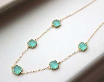 Aqua Blue Mint Necklace Gold Plated - Mint Wedding Jewelry - Mint Bridesmaid Jewelry - Bridesmaid Necklace - Something Blue Bridesmaid Gift