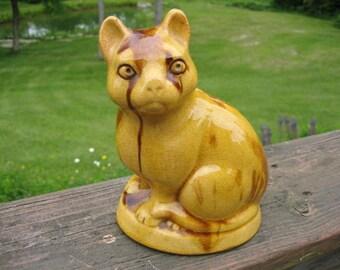 "Yellow Ceramic Treacle Glazed Cat 6"" Figurine 1970s Metropolitan Museum of Art Reproduction"
