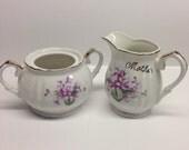 Sugar Bowl and Creamer purple violet motif Mother