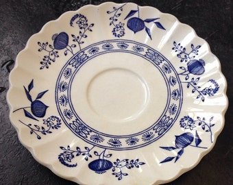 JG Meakin England Classic White Blue Nordic Onion Pomegranite 6 inch saucer