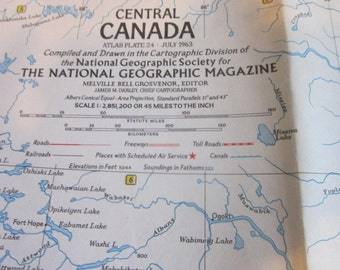 Central Canada  Map July 1963 National Geographic Vintage