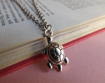 Tiny tortoise turtle charm necklace (choose your chain length) (seaside, ocean, marine life, reptile)