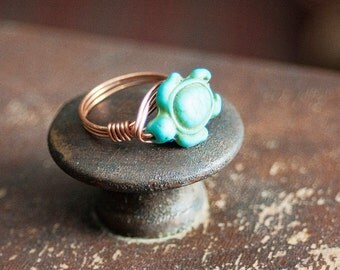 SALE Turquoise Turtle Ring Sz 8.5 Copper Wire Wrapped Ring Turtles Tortoise Boho Bohemian Jewelry Hippie Ring Gypsy Jewelry