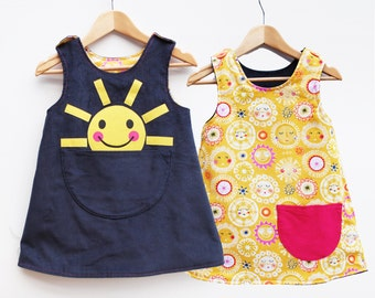 Girls sunshine printed reversible dress