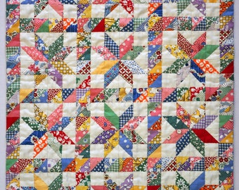 ENGLISH PDF Pattern Graceful Stars Dollquilt size 12.75 x 16.5 inch