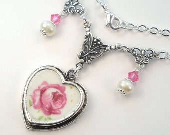 Broken China Jewelry Pink Rose Pearl & Crystal Heart Charm Pendant Necklace Vintage Charm Porcelain Jewelry by Charmedware