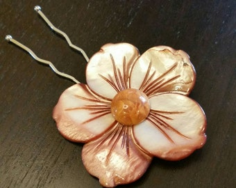 Terracotta Spice Plumeria Mother of Pearl Flower Hair Pin