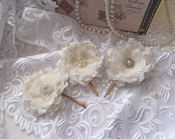 Ivory Silk and Lace Bridal Hair Flowers