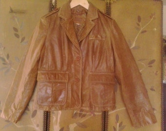 90s tan leather jacket