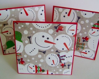 Holiday SALE ** Set of 3 Smiling Snowmen gift enclosure cards