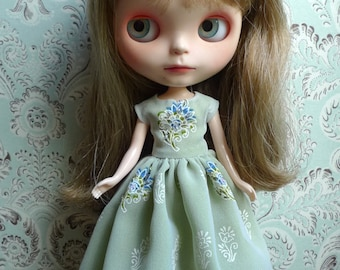 White Green and Blue Flower Blythe Dress | Pullip Dress