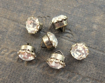 8mm Crystal Shank Buttons in Lace Edge Brass Ox Settings Preciosa (6)