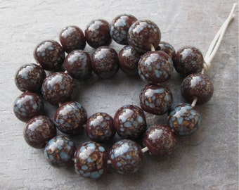 Brown Lampwork Glass Beads w/ Turquoise Speckles & Copper Glitter 12mm (25)