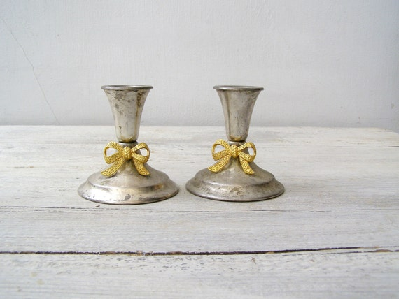 Gold Bow Silver Plated Candlestick Holders Vintage Mid Century Metal Candle Holders Tableware Traditional Minimalist & MadebyIrit - Gold Bow Silver Plated Candlestick Holders Vintage Mid ...
