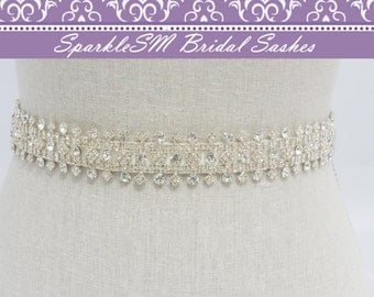 Rhinestone Crystal Bridal Belt Sash, Wedding Sash Belt, Bridal Accessories, Crystal Belt Sash Crystal Bridal Belt, SparkleSM Bridal,  Noelle