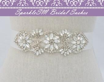 Rhinestone Sash, Beaded Bridal Belt, Crystal Dress Sash, Rhinestone Applique, Bridesmaids Sash, Bridal Sash, Bridal Belt, Wedding Dress Sash